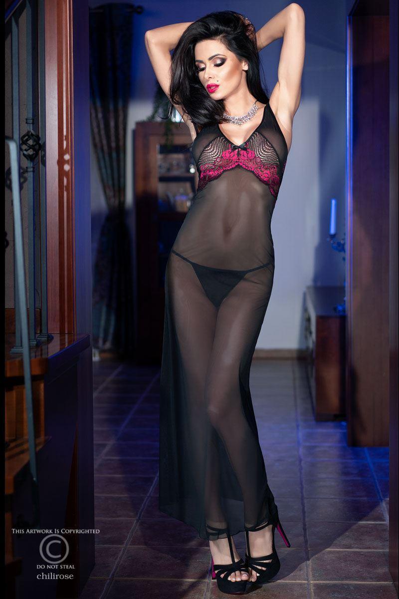Langes Kleid CR4215 schwarz/pink | Kleider & Tops ...